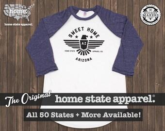 Sweet Home Raglan: Navy on White Baseball Raglan Shirt