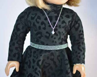 American Girl or 18 Inch Doll DRESS in Black Velvet Print with Belt JEWELRY and SHOES Option