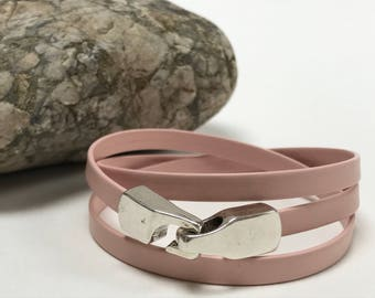 Pink Triple Wrap Leather Bracelet with Hook Clasp Leather Bangle, Unisex Leather Bracelet,Women's Leather Bracelet, Tan and Silver
