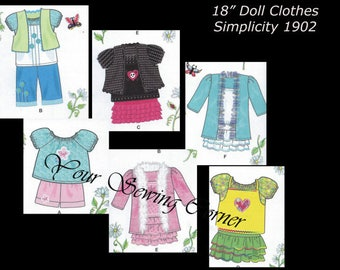 """Simplicity 1902- Casual school Clothes-Summer Clothes for 18"""" Dolls-Fits american girl dolls"""