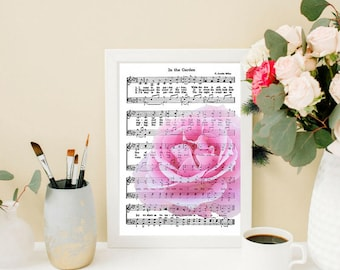 "Digital Download-Pink Rose photograph imposed on vintage hymn music - 8""x 10"" Vertical Image (.jpg)"