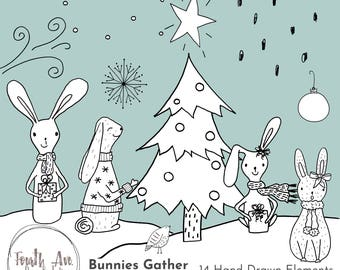 Christmas Bunnies Clipart, Holiday Bunnies Clipart, Winter, Hand Drawn, Bunny Illustrations, Christmas Clipart, Scene Builder Clipart