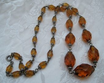 Genuine Quality Old Antique 1920s Art Deco Amber Glass Beads Necklace