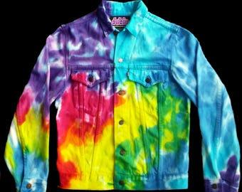 Rainbow Tie Dye Jean Jacket Lady's X Large
