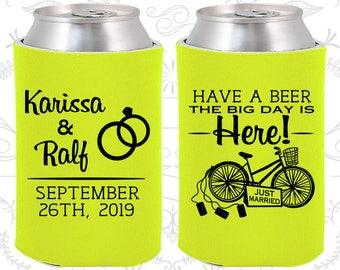 Have a Beer, The Big Day is Here, Custom Wedding Favors, Just Married, Just Married Wedding, Bicycle Wedding, Wedding Coolies (452)