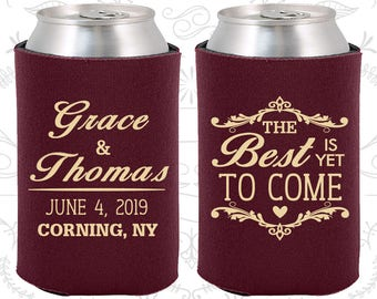 The Best is Yet to Come, Personalized Gift, Romantic Wedding Gift, Fairy Tale Wedding, Rehearsal Favors, Wedding Can Coolers (478)