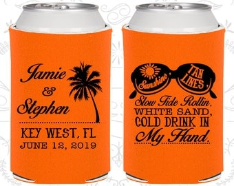 Slow Tide Rollin, White Sand, Cold Drink in My Hand,Wedding Favors, Summer Wedding Favors,Beach Wedding Favors,Wedding Can Coolers (451)