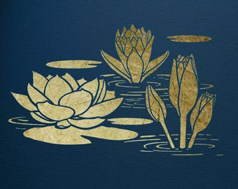 Water Lily, Art Stencil,  ST47