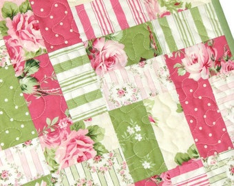 "Shabby Cottage Chic Quilt, Floral Quilted Throw, Pink and Green Scrappy Lap Quilt, 56""x40"", Quiltsy Handmade"