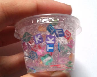 Clear Slime rainbow alphabet slime letter slice flowers fimo clear glitter slime confetti slimes Slime party favor birthday gift rainbow