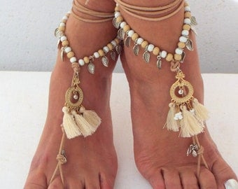 Ivory & gold Barefoot Sandals, wedding  barefoot sandal, Hippie Sandals, Foot Jewelry, Toe Thong
