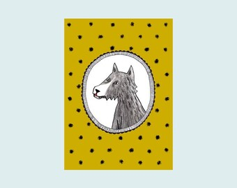 Wolf, illustrated card, postcard