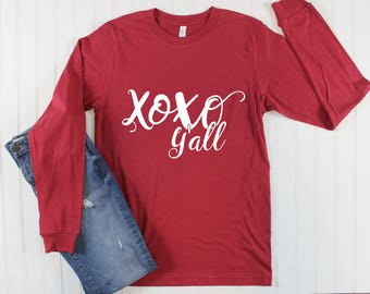 XOXO Ya'll Shirt/ Valentines Day Shirt For Women/ Women's Valentines Day Shirt/ Teacher Shirt/ Texas Shirt/ XOXO Shirt/ Long Sleeve Shirt