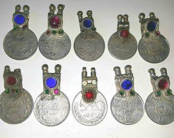 10 XL Lot de Spike Top coloré de pierreries Kuchi Vintage pièces tribales: grand vieux ethnique Gipsy véritable pièce bijoux/bijoux