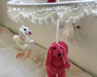 Rabbit baby girl crib musical mobile, nursery decor. With rabbits, heart and two different size ball's