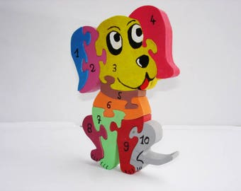 Small puzzle dog to learn numbers
