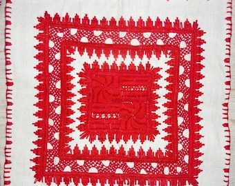 ON SALE 10% OFF Traditional hand made Hungarian embroidered red centerpiece