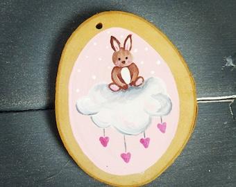 Bunny on a cloud woodslice