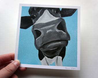 """Curious Black and White Cow Print, 5.5x5.5"""" Black and White Cow Print by Amber Maki"""
