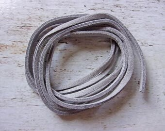 1 meter 3 mm new grey flat suede cord