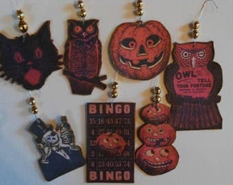 Halloween Ornaments, Feather Tree, Cats, Pumpkins, Owls, Bingo Card,  Mercury Glass Bead ornaments, Halloween Tags, Gift Tags, SET A5