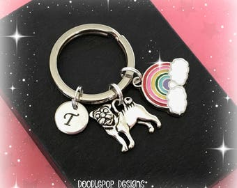 Pug and rainbow keyring - Initial pug keychain - Rainbow pug - Pug keyring - Rainbow keychain - Pug gift - Stocking filler - Gift for girls