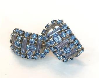 Vintage Blue Rhinestone Earrings Crystal Wedding Earrings Light Blue Silver Bridesmaid Bridal Earrings Antique Estate Jewelry Gift for Her