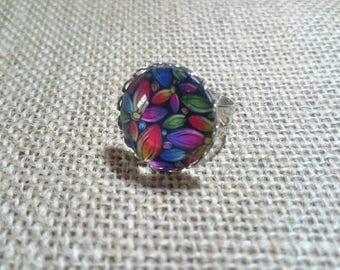 Multicolored flower glass cabochon Adjustable ring