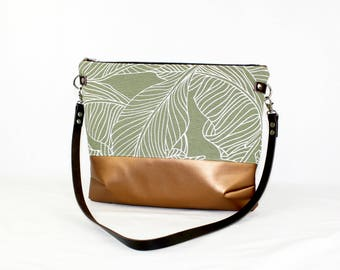 Palms copper Crossdiv bag with leather handles