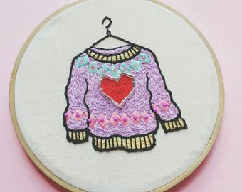 Sparkly Sweater Original Embroidery Art