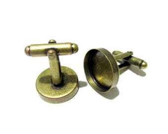 Fashion Antique Bronze Plated BLANK Cufflinks fits 18mm Cabochon & Gems - Weddings, Parties and Formal Events Men Accessory Jewellery.