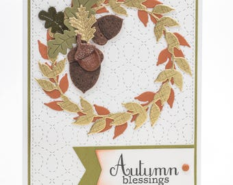 Autumn Greeting Cards Handmade, Paper Handmade Greeting Cards, Fall Wreath, Thanksgiving Hello Paper Card, Any Occasion Handmade