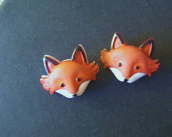 2 Adorable Woodland Fox Buttons Russet Brown