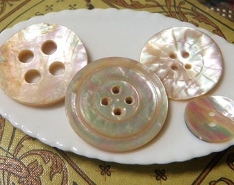 3 Very Old Pink Abalone Shell Buttons