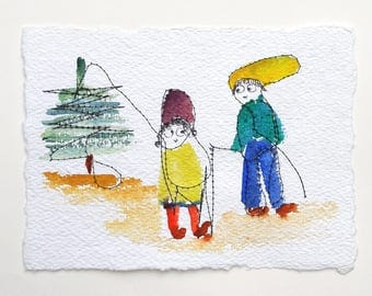 Going for a walk with hats-original painting