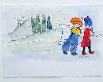 Warm hats  for a wintery walk-Original Painting