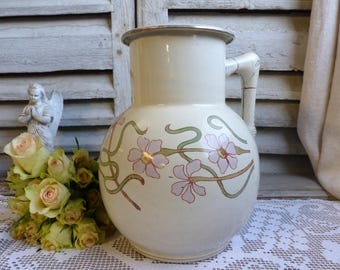 Antique french ivory enamelware washing pitcher with pink and green flowers. Art Nouveau. Jeanne d'Arc livng decor, French Nordic Cottage