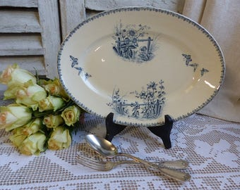 Antique french transferware oval serving platter. Blue transferware platter. Navy blue. Butterflies Flowers. French Nordic decor