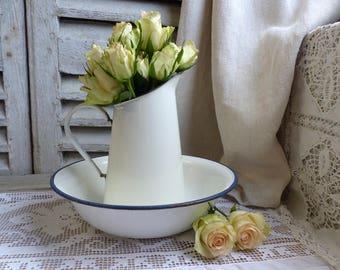 Antique white french enamel washing set. Antique white enamel pitcher and basin. White with blue trim. Rustic cottage. French farmhouse