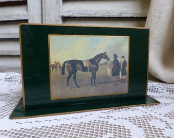 French vintage equestrian letter holder. Horse letter holder. Forest green lacquer finish. Decoupage. Vintage equestrian image.