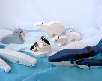 DIY / e-book / patterns / plans for 12 different wooden figures: whale, beluga, walrus, puffin