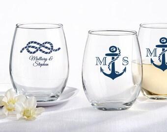 Personalized 9 oz. Stemless Wine Glass Wedding Favors - Nautical Theme Wine Glasses - Nautical Wedding Favors (30009NW)