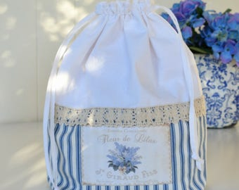 Bag blue and white, Laundry, Drawstring,Chic Cosmetic Lace, Bags and Purses, Shoe Bag, Made in Australia, Shabby Cottage, Gift for Her