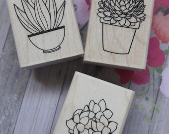 Potted Plants Wood Mounted Rubber Stamp Set Scrapbooking & Paper Craft Supplies