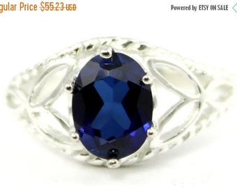 On Sale, 30% Off, Created Blue Sapphire, 925 Sterling Silver Ring, SR137
