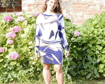 Vintage 60's blue&white dress size Medium OOAK Made in Italy