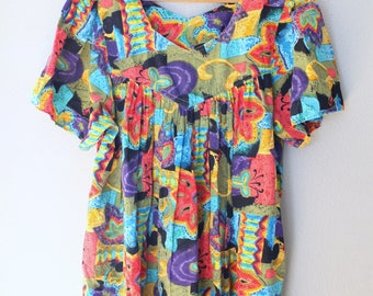 vintage rainbow anstraxt floral bohemian tunic caftan dress w pockets