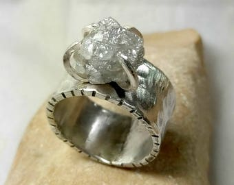 RESERVED FOR SWEETPEA, Raw diamond Ring, 8  Carat Rough  Diamond Engagement Ring, Silver and large diamond ring. diamond statement ring