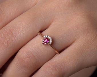 Ruby ring, Diamond ring, Pear cut ruby, Dainty ruby ring, Genuine ruby, Diamonds,  Trendy ruby ring, Ruby diamond ring