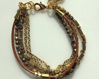 Brown Leather, Gold Plated and Brass Beads, Chain and Czech Beads Multi Strand Bracelet